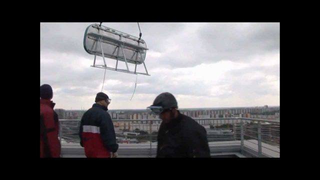 Logo assembly by helicopter – roof view