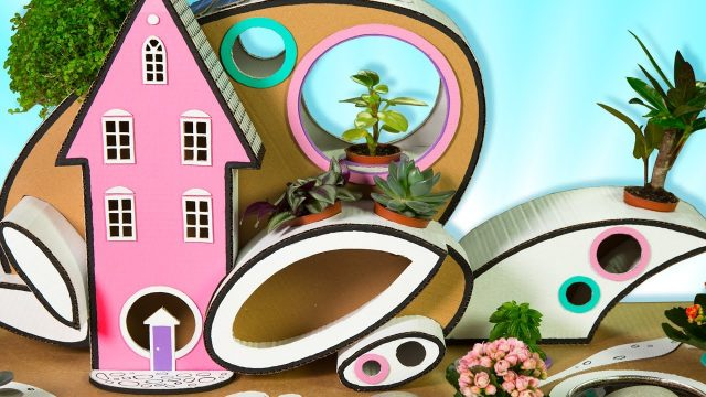 DIY Cardboard House with Garden | Craft Ideas and Cardboard Houses for Kids on Box Yourself