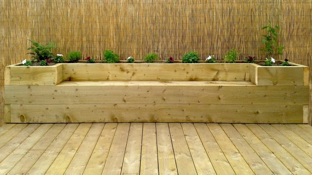 Softwood decking & raised bed – bench