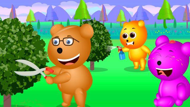 Mega Gummy Bear having fun gardening crying getting hurt finger family nursery rhyme for children