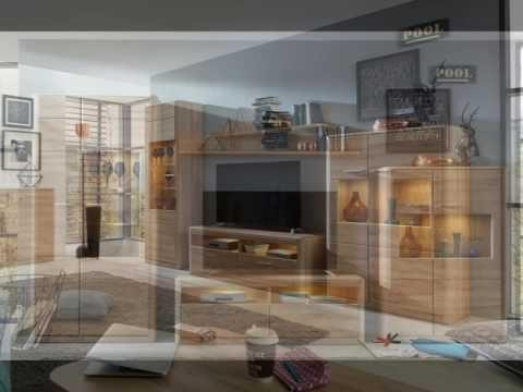Wohnwand Anbauwand Siero Eiche Bianco inkl. Glasbodenbeleuchtung