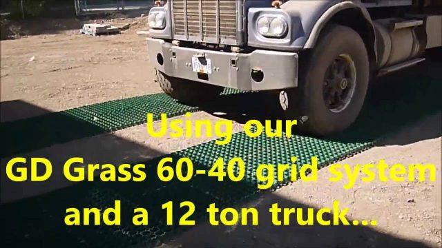 Green Driveway – GD Grass 60-40 – Truck driving on empty grid!