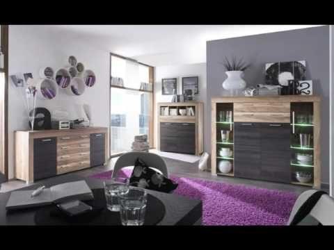 Wohnwand Boom Nussbaum Satin und Touchwood dunkelbraun mit LED Beleuchtung