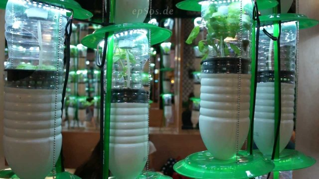 Hydroponic Farming System in Plastic Bottles with LED Lamps