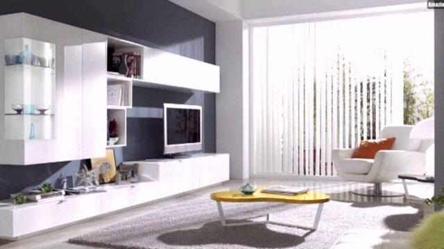 Weiße Wohnzimmer Möbel Wohnwand Gelber Couchtisch Graue Wand