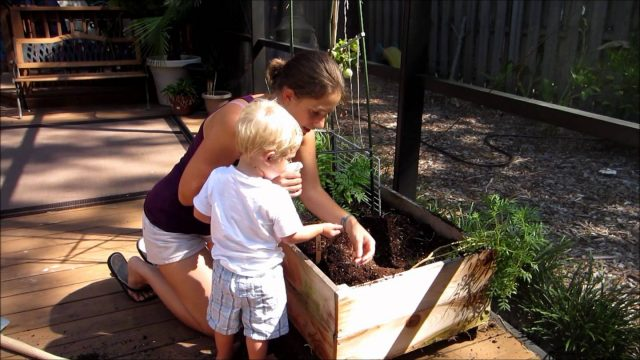 Kids in the Garden – Planting Peas with a 1 year old
