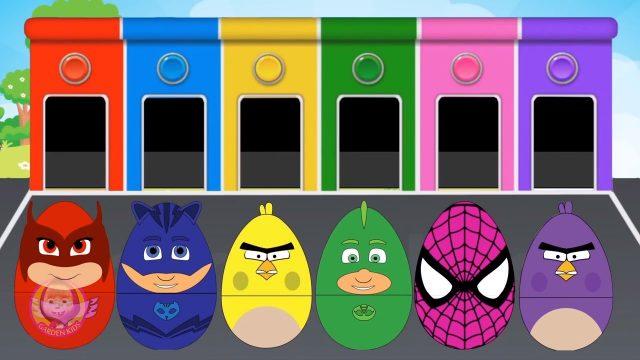 New #Surprise #Eggs for #Kids – Learning Colours | Pj Masks Owlette Spiderman #15