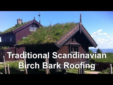 Traditional Scandinavian Sod (turf) Roof with Birch Bark