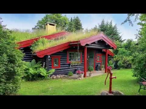 Green Roof Log House, Traditional Scandinavian Home