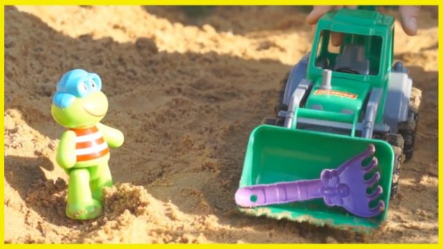 Froggy Frog and The MISSING RAKE! Children's GARDENING with Truck & Excavator