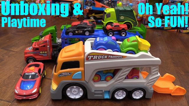Toy Cars and Trucks for Children: Kid Connection Car Carrier Truck Unboxing and Playtime