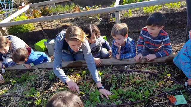 Gardening with friends at the oudoor education center