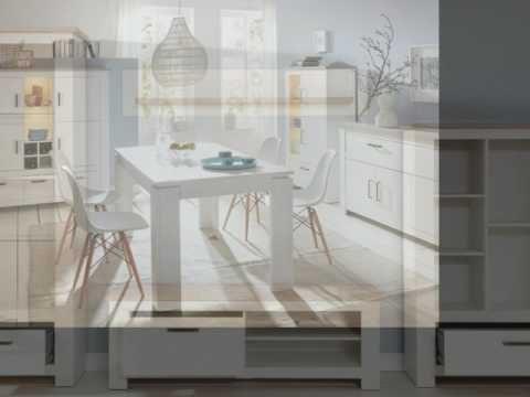 Wohnwand Lotte in Pinie Struktur weiß und Nelson Eiche Dekor