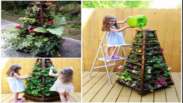 How To Build A Vertical Garden Pyramid Tower DIY Outdoor Project