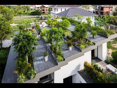 Modern House Design with Large Hanging Garden on The Roof in Nha Trang