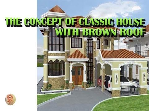 the concept of classic house with brown roof