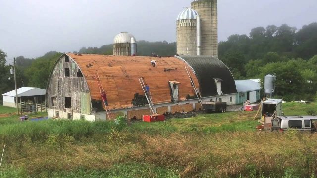 Old Barn Gets New Roof Time-Lapse