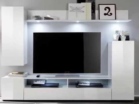 Wohnwand Medienwand Dos weiß Hochglanz Fernsehschrank