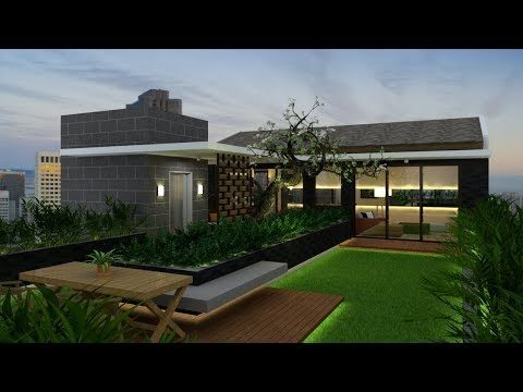 Rooftop Garden Design Build With Google Sketchup + Vray 3.4 Render