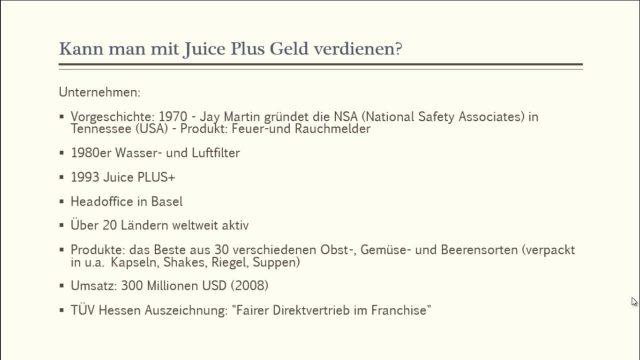 Juice Plus Erfahrungen  – Kann man mit Juice Plus Geld verdienen?