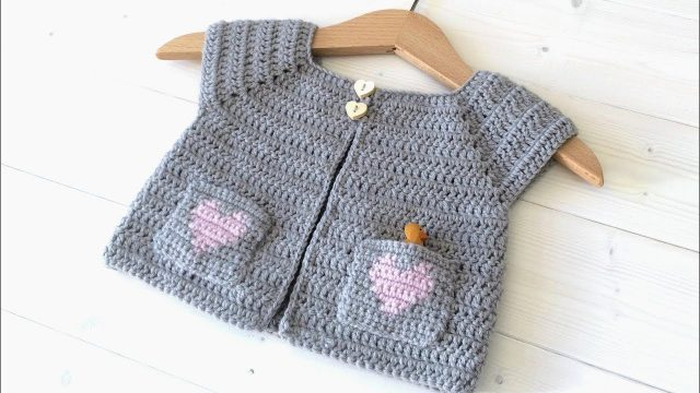 How to crochet a baby / children's heart pocket cardigan