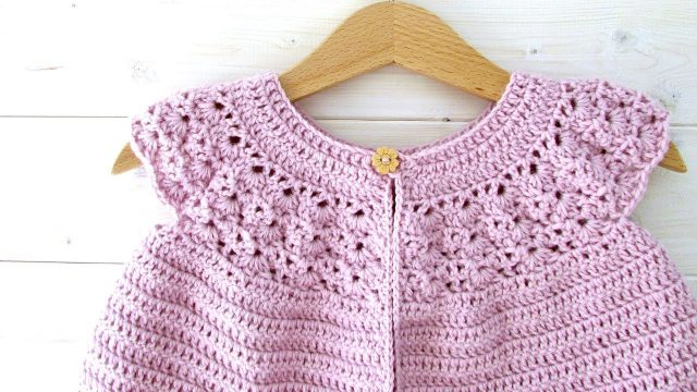 How to crochet a lace top baby cardigan / sweater – the Rosie cardigan