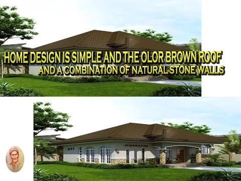 home design is simple and the color brown roof and combination of natural stone walls