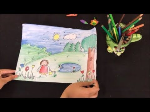 How to draw a garden for kids / landscape / easy drawing for kids