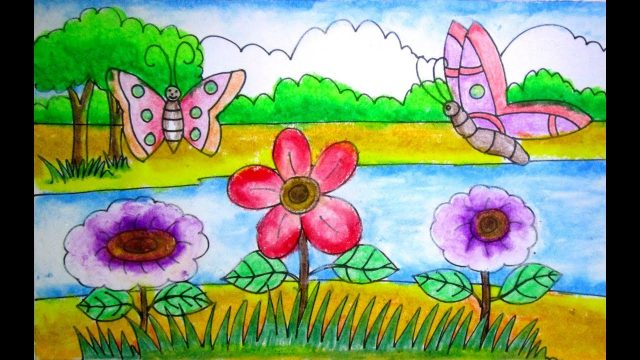 How to draw a scenery of flower garden for kids