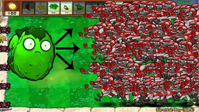 1 Giant Wall Nut vs 99999 Football Zombie Plants vs Zombies