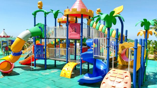 Outdoor Playground Fun for Children – Family Park with Slides, Disney Mickey Mouse
