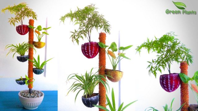 How to Make Plants POT TOWER GARDEN From Coconut Shell | Coconut Shell TOWER GARDENING//GREEN PLANTS