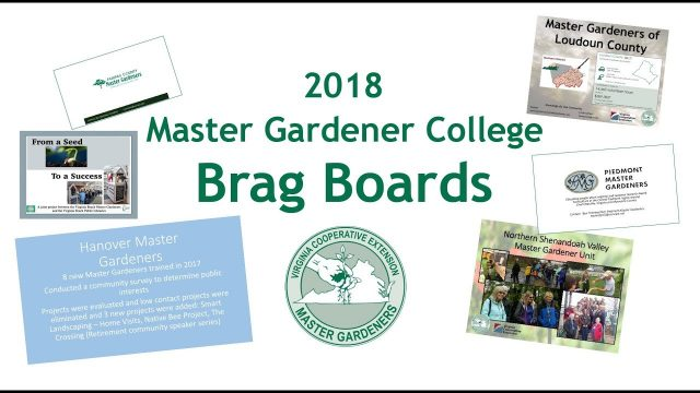 2018 Master Gardener College Brag Board Displays