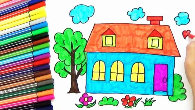 How To Draw a House, Tree In The Garden For Kids – Easy | BoDraw
