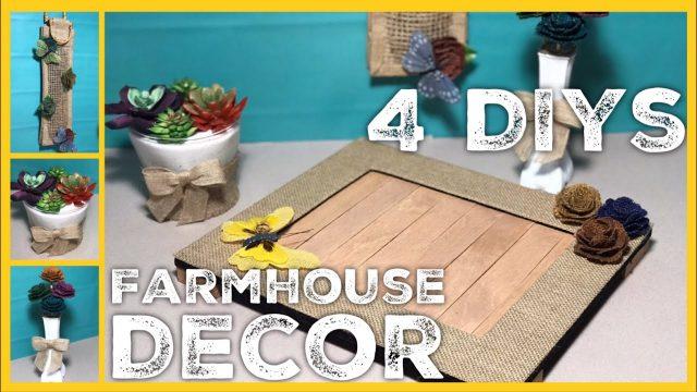 Farmhouse DIYs – Rustic Tray, Succulent Planter, Flowers & Vase, Hanging Decor | Burlapfabric.com