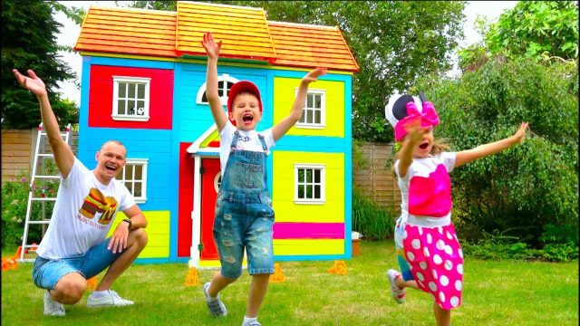 Katy and Max build Childrens Playhouse or Garden House for kids and paint it bright colors