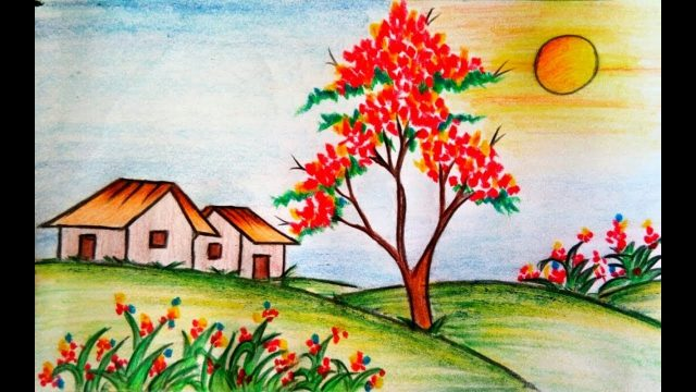 Learn How to draw scenery of flower garden step by step || Drawing ||