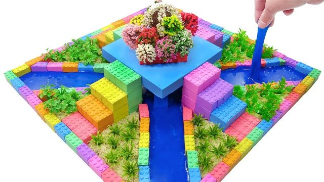 Learn Colors and How To Make Flower Garden Square with Mad Mattr, Slime, Tree Model