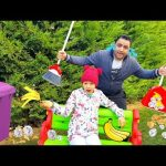 Melo and Daddy Garden Cleaning Pretend Play With Fun kid video