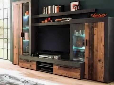 """Wohnwand """"Boom"""", Used Wood Design, grau, inkl. LED-Beleuchtung"""