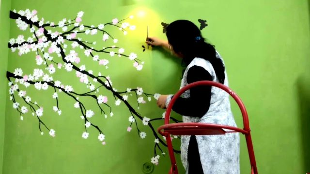 Cherry Blossom Flower Green Wall Painting – Babita Keshan