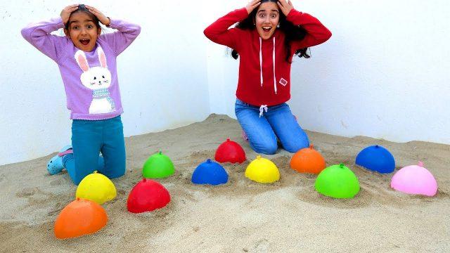 Esma and Asya Balloon Garden fun kid video