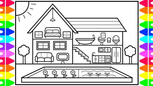 How to Draw a Cute House with a Garden for Kids 💚💜💙🌸Cute House Drawing | House Coloring Pages