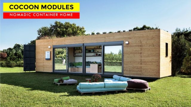 Cocoon Modules: Tiny Nomadic Container Home with Green Roof