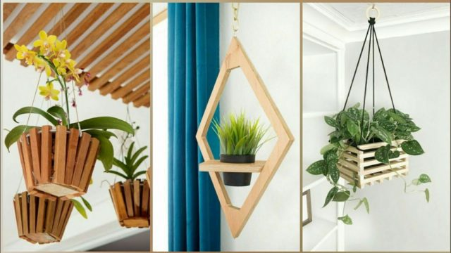 Charming wooden wall hanging planters ideas to brighten yard