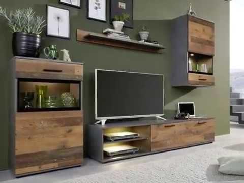 "Wohnwand ""Mango"", Old Used Wood mit Matera grau, 4-/5-teilig"