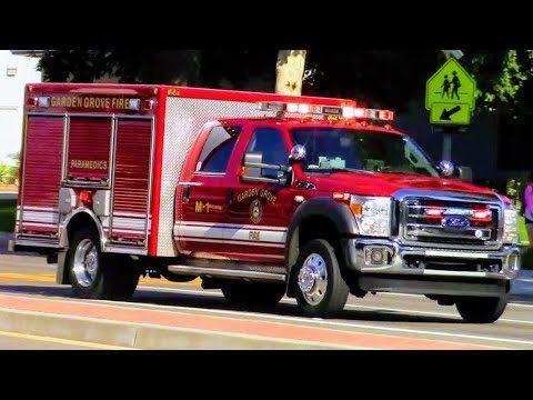 Garden Grove Fire Dept. Engine 1 & Medic 1 Responding