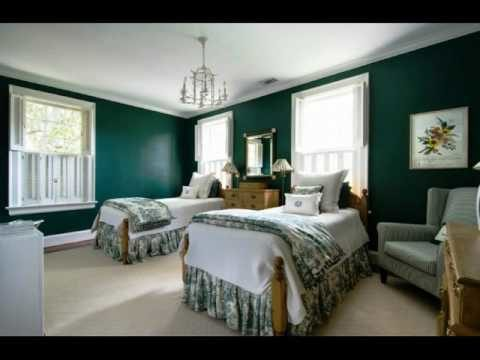 Bedroom with Dark Green Walls