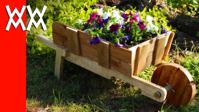Make a rustic wheelbarrow garden planter. Easy DIY weekend project.