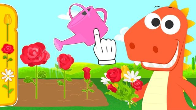 Learn with Eddie how to plant flowers in garden | Eddie the Dinosaur learns how to plant in spring